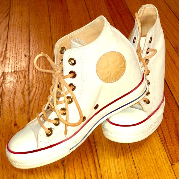df837a1f55f3 Converse Shoes - Converse off-white wedge sneakers
